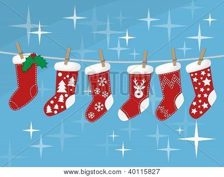 Christmas Socks Hanging On Rope Vector