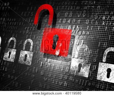 conceito de segurança com um bloqueio