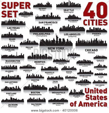 Conjunto de Skyline cidade incrível. Estados Unidos da América.