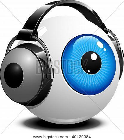 Eye with headphones