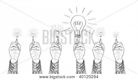 Hand of a businessman drawing lightbulbs. vector illustration