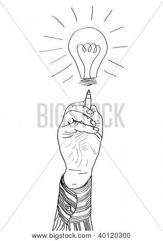 Hand of a businessman drawing lightbulb. vector illustration
