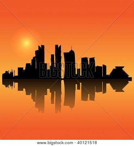 Doha vector silhouette skyline