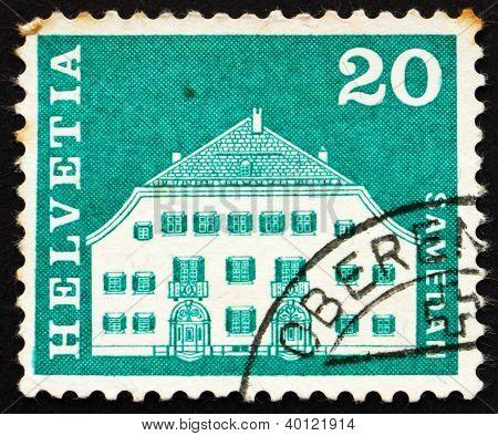 Postage Stamp Switzerland 1968 Planta House, Samedan, Switzerland
