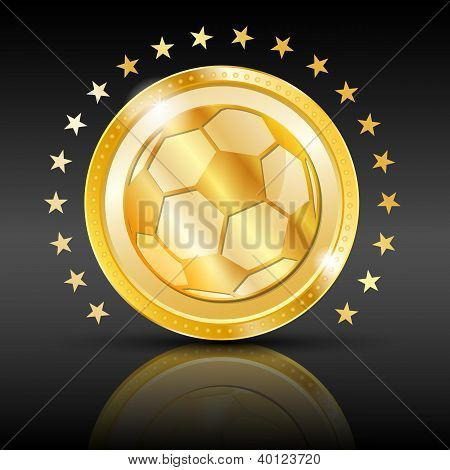 Gold football coin. Sport background.