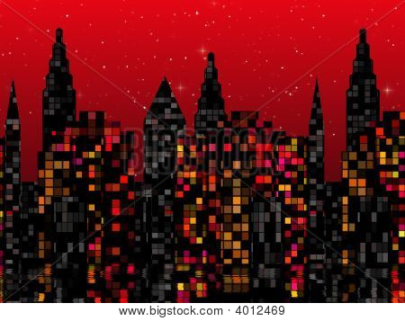 Red Starry Cityscape