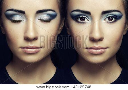 schöne Frau Gesicht. perfekte Make-up