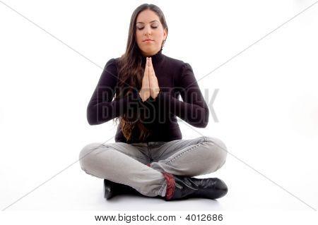 Sitting Praying Young Female