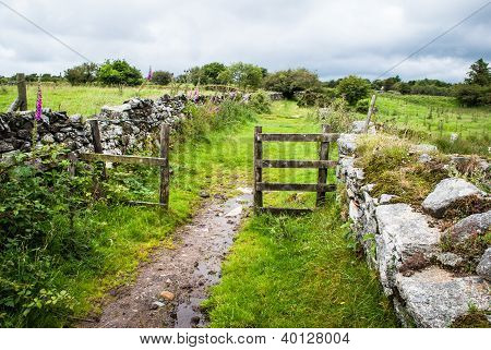 Footpath Leading Through A Gate Across Bodmin Moor