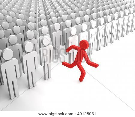 Red Human Figure Running from the Crowd of Gray Indifferent Humans