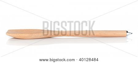 Wooden kitchen utensil. Isolated on white background