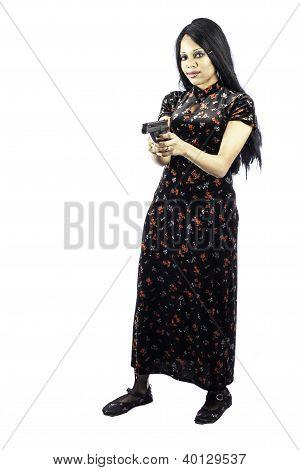 Sexy Black Goth Woman With Handgun