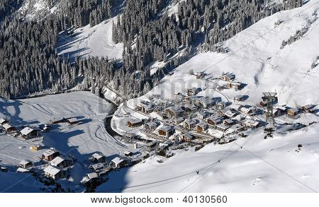 village in a valley in Alps