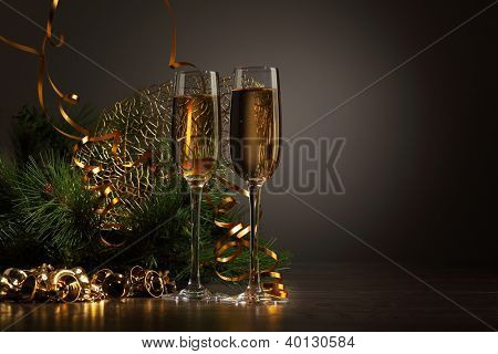 Two champagne glasses ready to bring in the New Year
