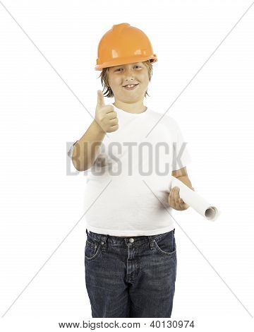 Boy In Hard Hat With Thumbs Up