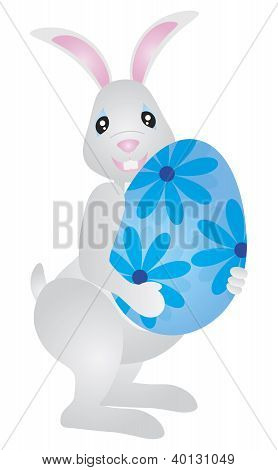 Easter Bunny Carrying Big Egg Illustration