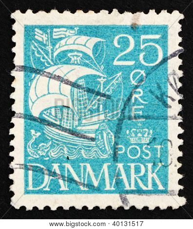 Postage Stamp Denmark 1927 Caravel, Sailing Ship