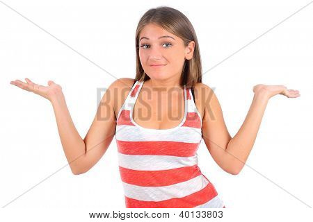 Isolated young casual woman confused