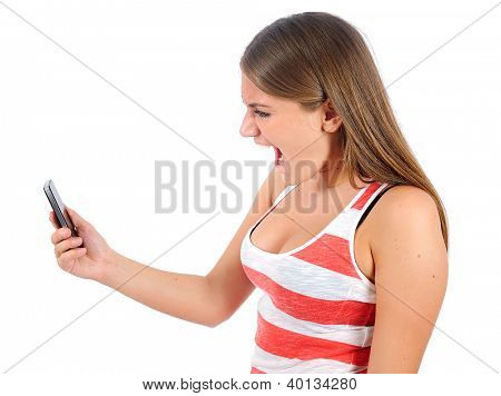 Isolated young casual woman screaming phone