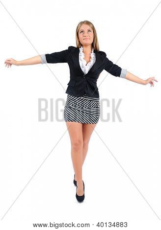 Isolated business woman walking rope