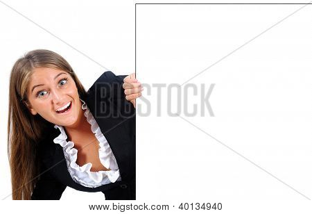 Isolated young business woman behind wall