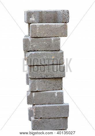 Nine Stacked Bricks To Build House Or Wall