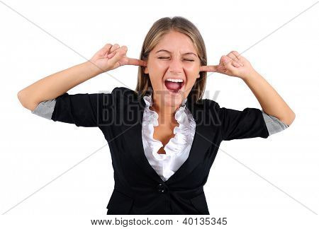 Isolated young business woman deaf
