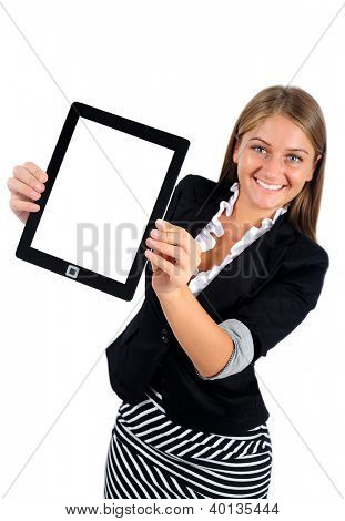 Isolated young business woman showing tablet