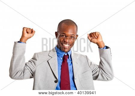 African businessman in a victory pose