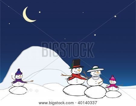 Snow Family - Snow Man, Woman, Children In Group Having A Snowball Fight