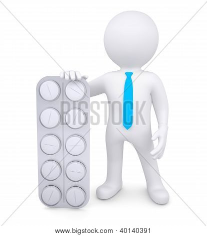 3D White Human With Pills