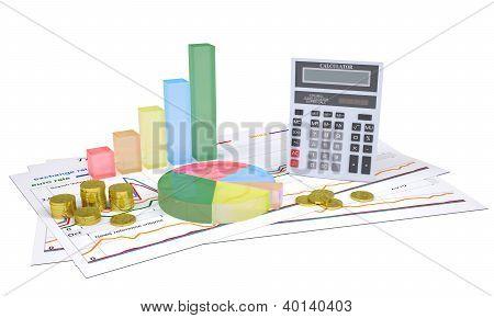 Gráficos econômicos, moedas de ouro e uma calculadora