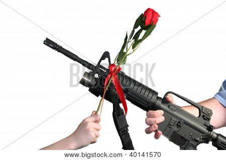 Adult Rifle Child Rose Crossed