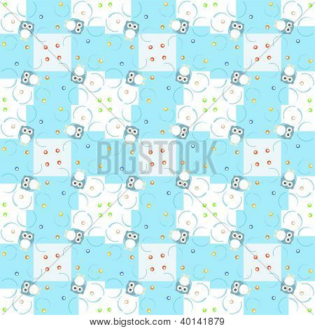 Seamless pattern with cute owls for baby boy