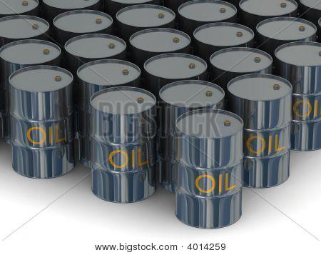 Armazém de barricas com óleo. Imagem 3D
