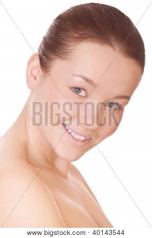 Woman With Perfect Health Skin Of Face