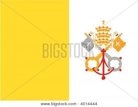 Bandera de la ciudad del Vaticano. Ilustración sobre fondo blanco