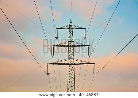 Electrical Tower In Beautiful Light