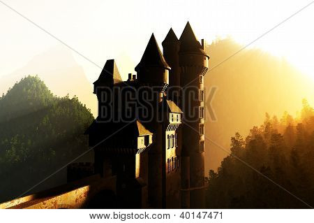 Fantasy Castle Sunset Sunrise in the Mountains 3D render