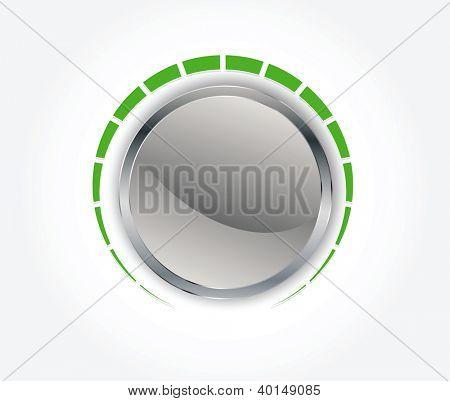 Botón de volumen (botón de la música) con textura de metal en formato vectorial editable