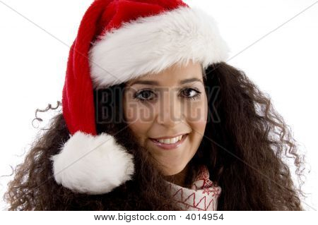 Close View Of Young Woman Wearing Christmas Hat
