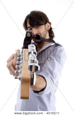Handsome Man Pointing At You With Guitar