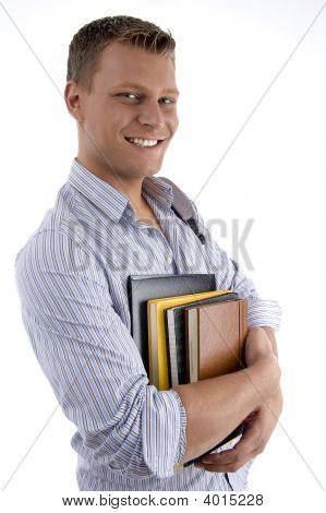 Happy Male Holding Books