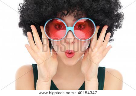 Woman with black afro and glasses