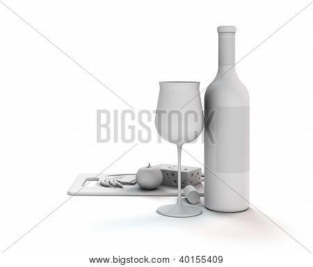 wine still life in white