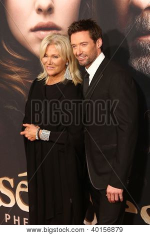 "NEW YORK-NOV 18: Actor Hugh Jackman and wife, Deborra-Lee Furness attend the premiere of ""Les Miserables"" at the Ziegfeld Theatre on December 10, 2012 in New York City."