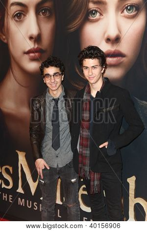 """NEW YORK-DEC 10: Alex Wolff and Nat Wolff (R) attend the premiere of """"Les Miserables"""" at the Ziegfeld Theatre on December 10, 2012 in New York City."""