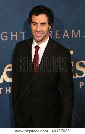 """NEW YORK-DEC 10: Actor Sacha Baron Cohen attends the premiere of """"Les Miserables"""" at the Ziegfeld Theatre on December 10, 2012 in New York City."""