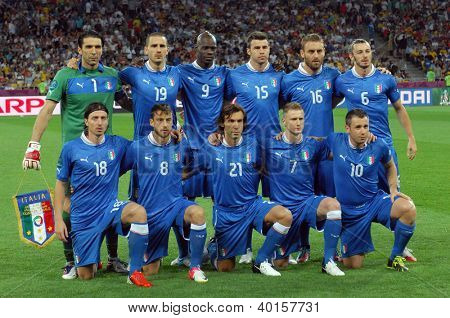 KYIV, UKRAINE - JUNE 24, 2012: Italy national football team pose for a group photo before UEFA EURO 2012 game against England on June 24, 2012 in Kyiv, Ukraine