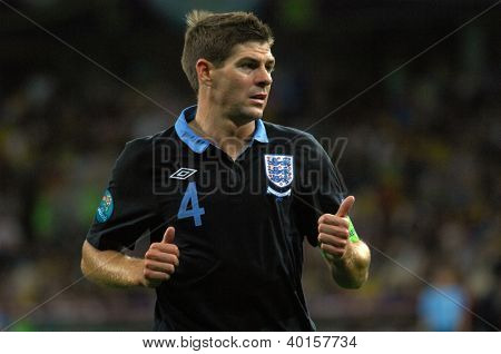 KYIV, UKRAINE - JUNE 15: Steven Gerrard of England national team during UEFA EURO 2012 game against Sweden on June 15, 2012 in Kyiv, Ukraine